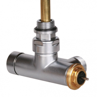 "Angled thermostatic valve with immersion tube 50 oś CYLINDER  GZ 1/2""-GZ 3/4""  left"