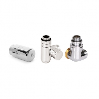 "Set 3-axis thermostatic valve with integrated T-piece CYLINDER  GZ 1/2""-Ø16x2, Ø15  left"